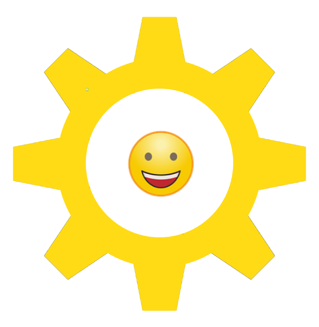 Yellow cog with yellow emoticon