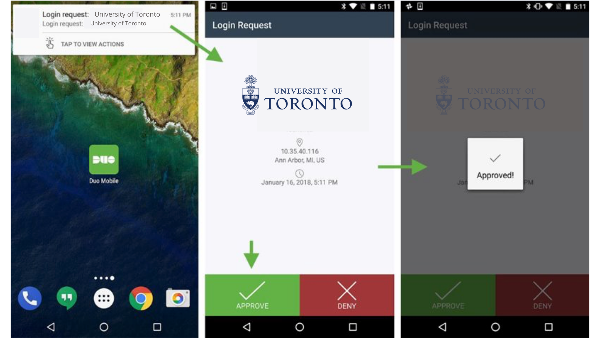 Image of authentication process on mobile phone: notification, check boxes and approval.