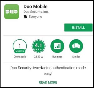 Picture of DUO download screen on google play store